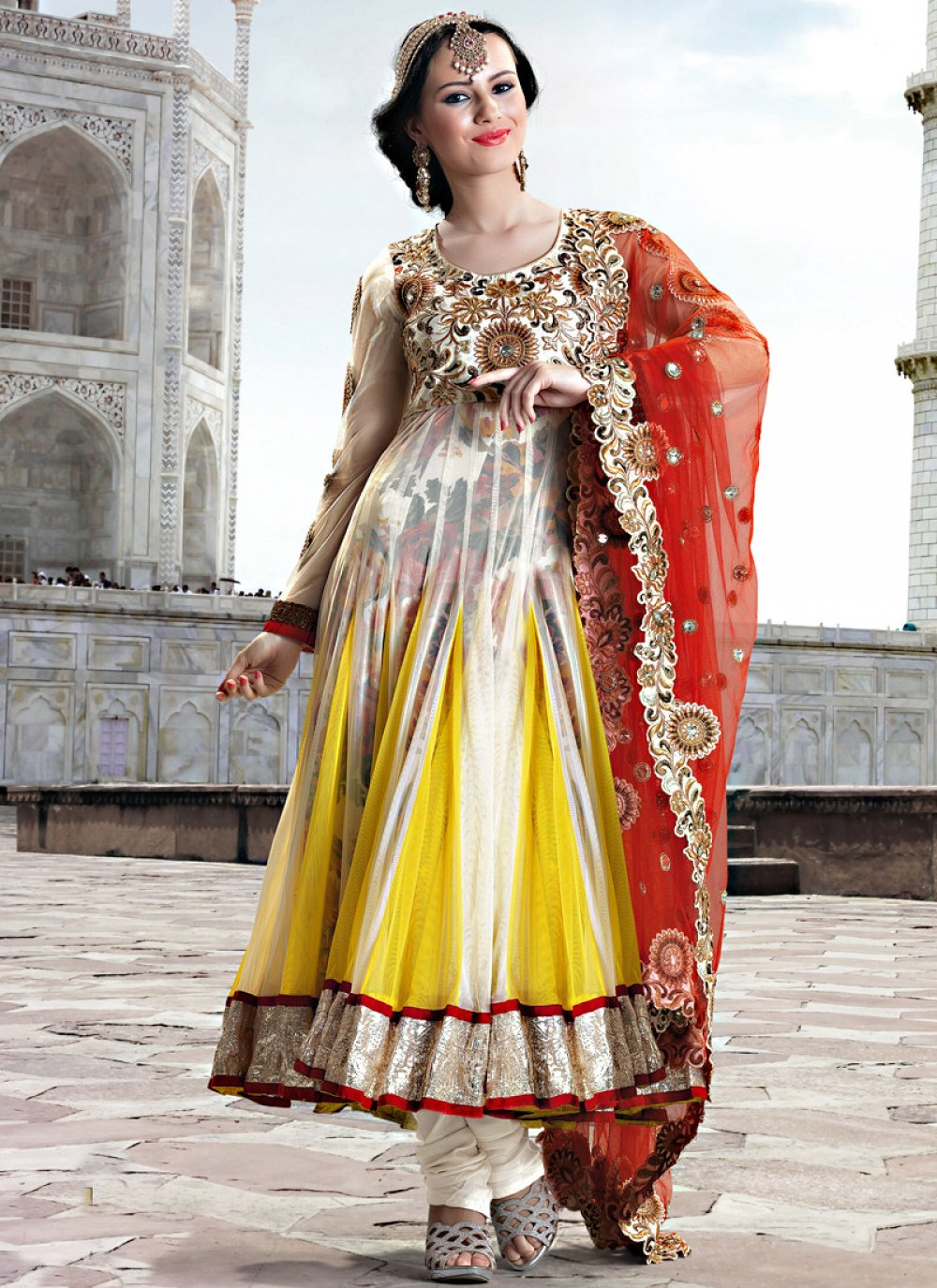 Yellow And Cream Printed Net Anarkali Suit