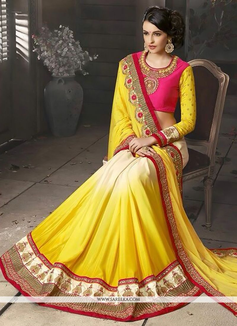 Yellow And Cream Soft Net And Georgette Saree