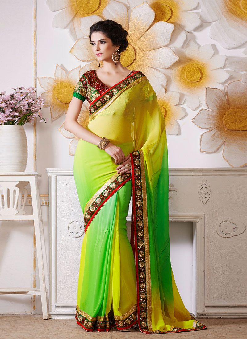 Yellow And Green Embroidery Work Designer Saree