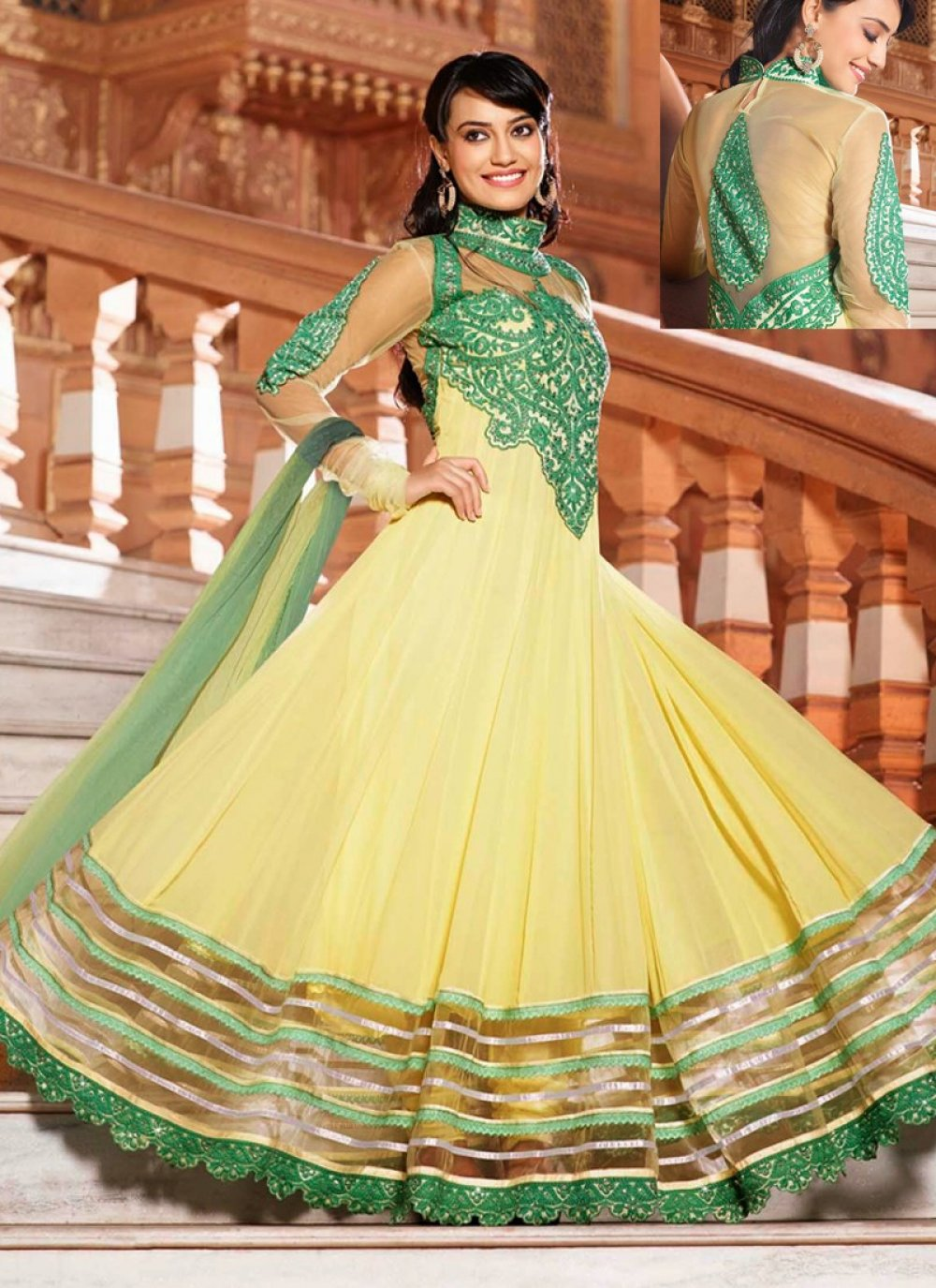 Yellow And Green Patch Border Work Anarkali Suit