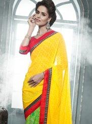 Yellow And Green Printed Casual Saree