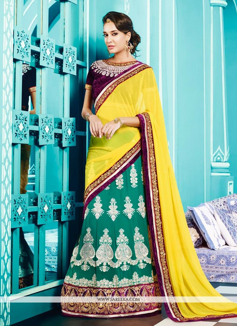 Lisa Haydon Yellow And Green Resham Work Lehenga Saree