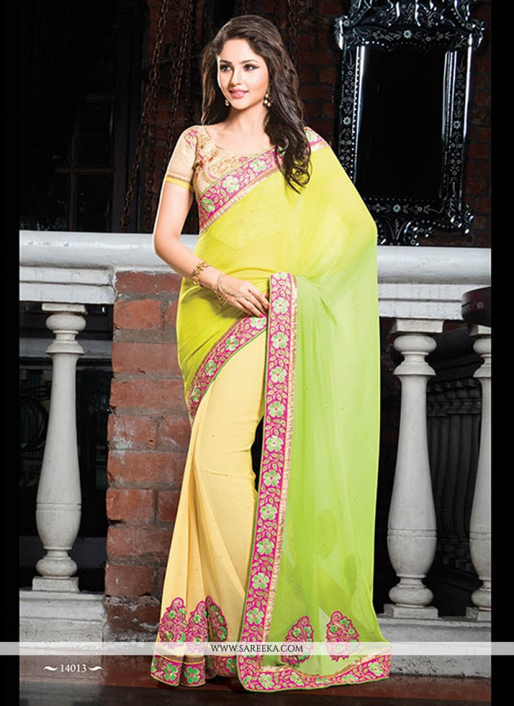 Yellow And Green Shaded Chiffon Party Wear Saree