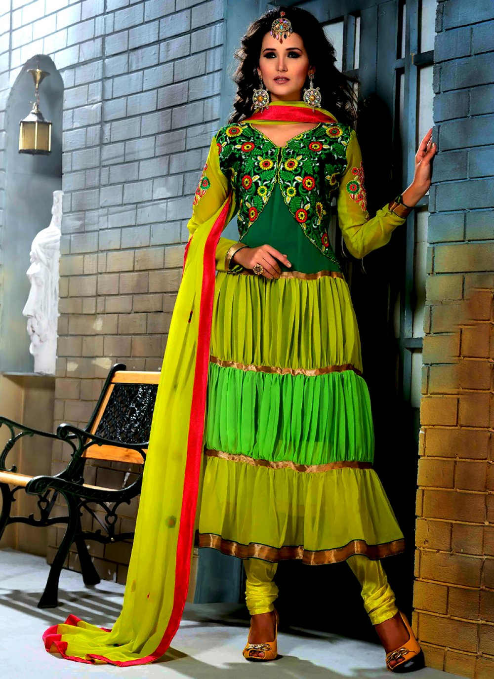 Yellow And Green Shaded Georgette Anarkali Suit