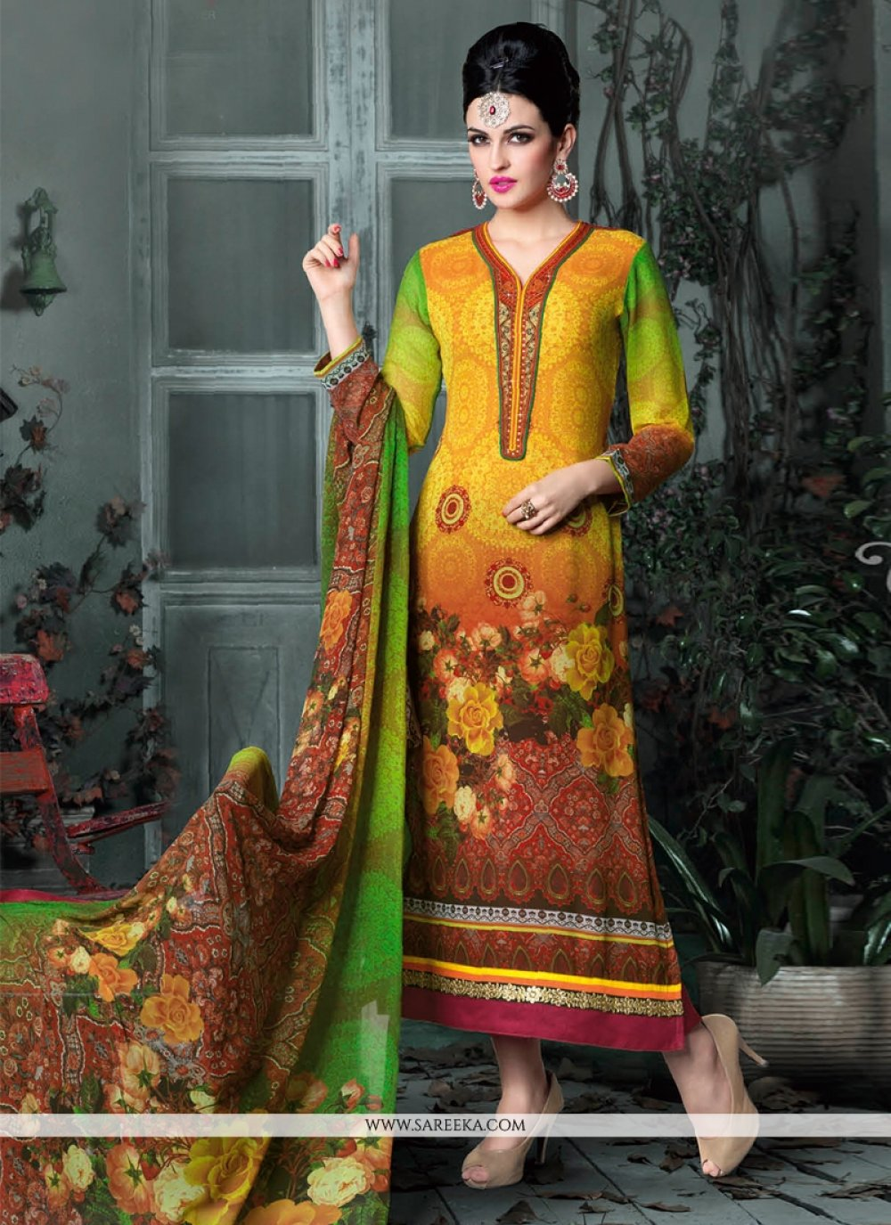 Yellow And Green Shaded Printed Pant Style Suit