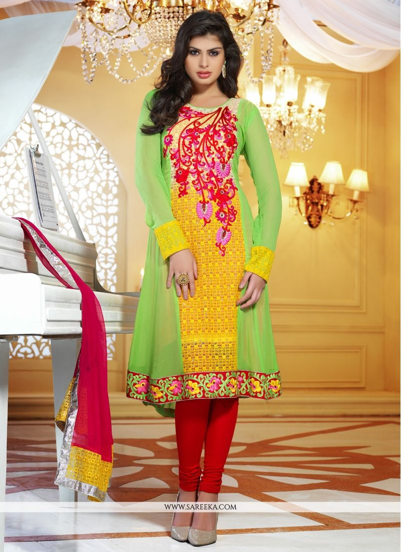 Yellow And Green Viscose Georgette Churidar Suit