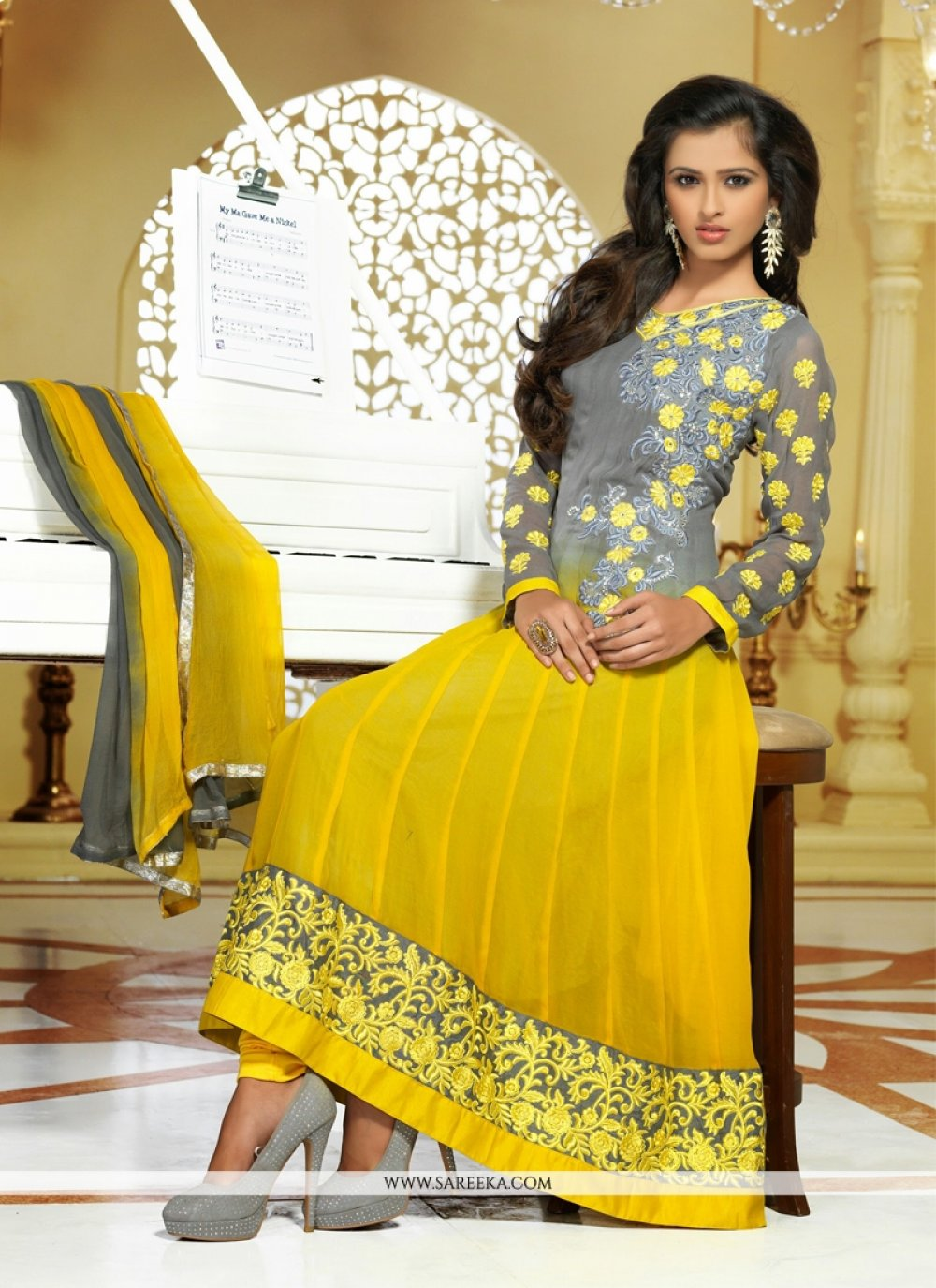 Yellow And Grey Fuax Georgette Anarkali Suit
