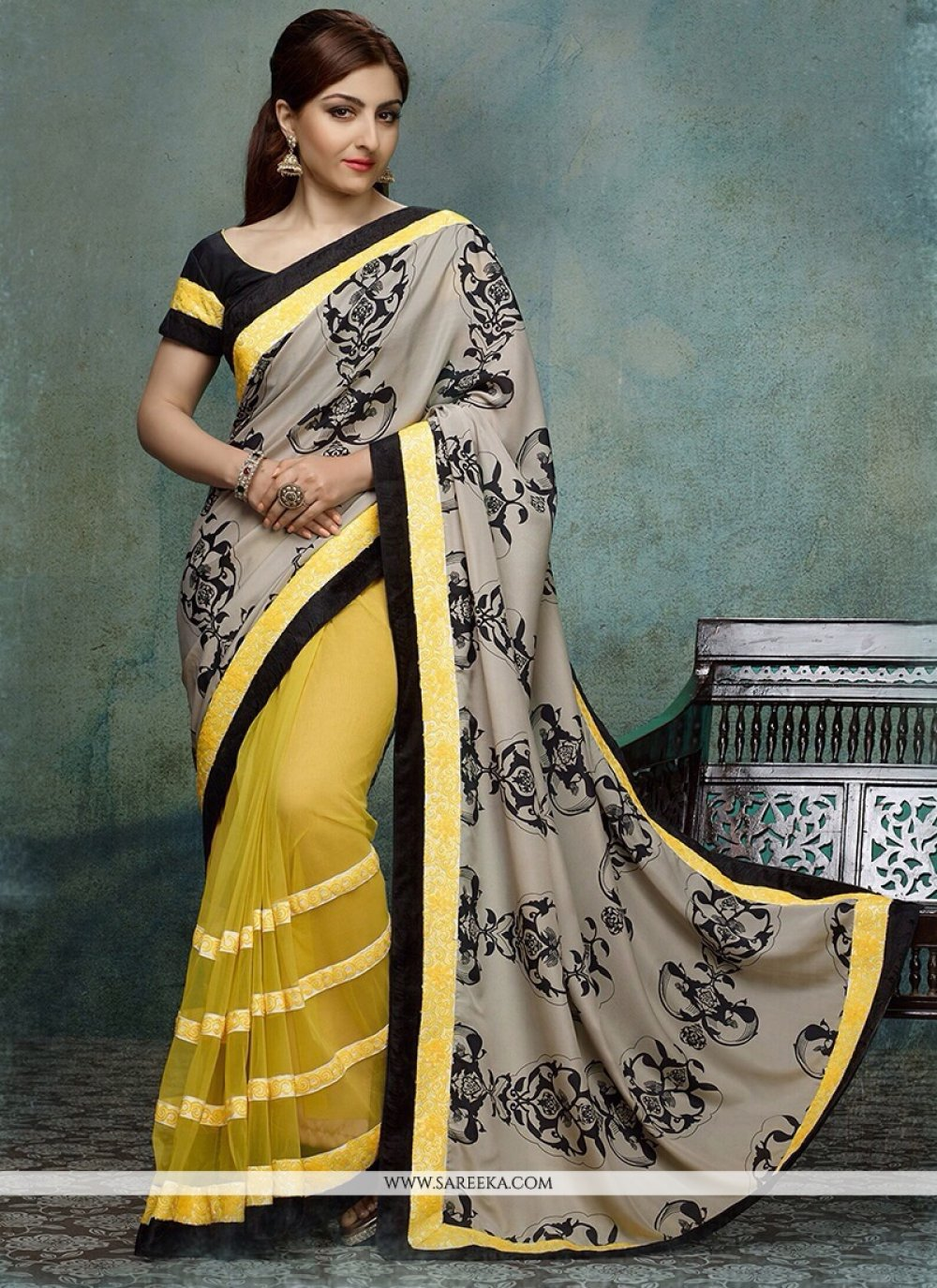 Soha Ali Khan Yellow And Grey Net Printed Half And Half Saree
