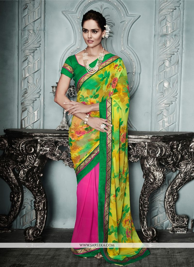 Yellow And Hot Pink Printed Casual Saree