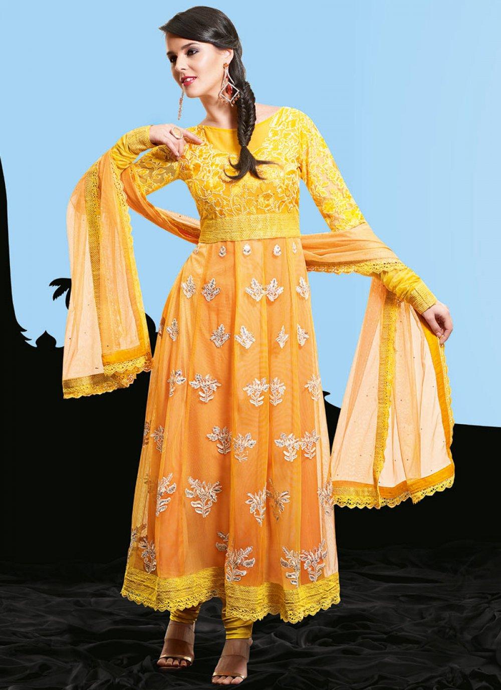 Yellow and Light Orange Net Pakistani Suit
