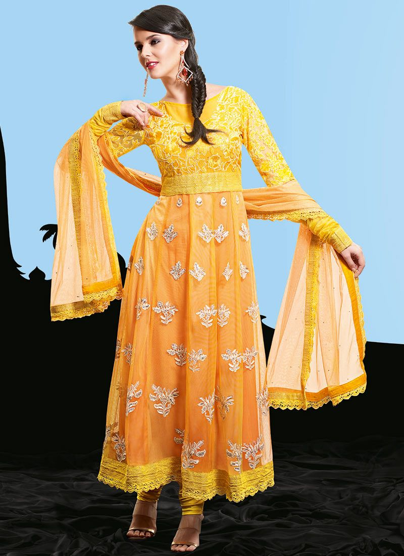 Yellow and Light Orange Net Pakistani Suit