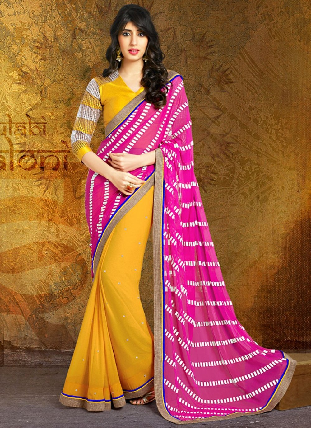 Yellow And Magenta Color Printed Half And Half Saree