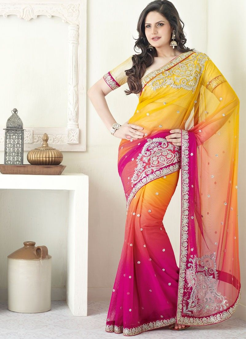 Yellow and Magenta Embroidered Net Saree