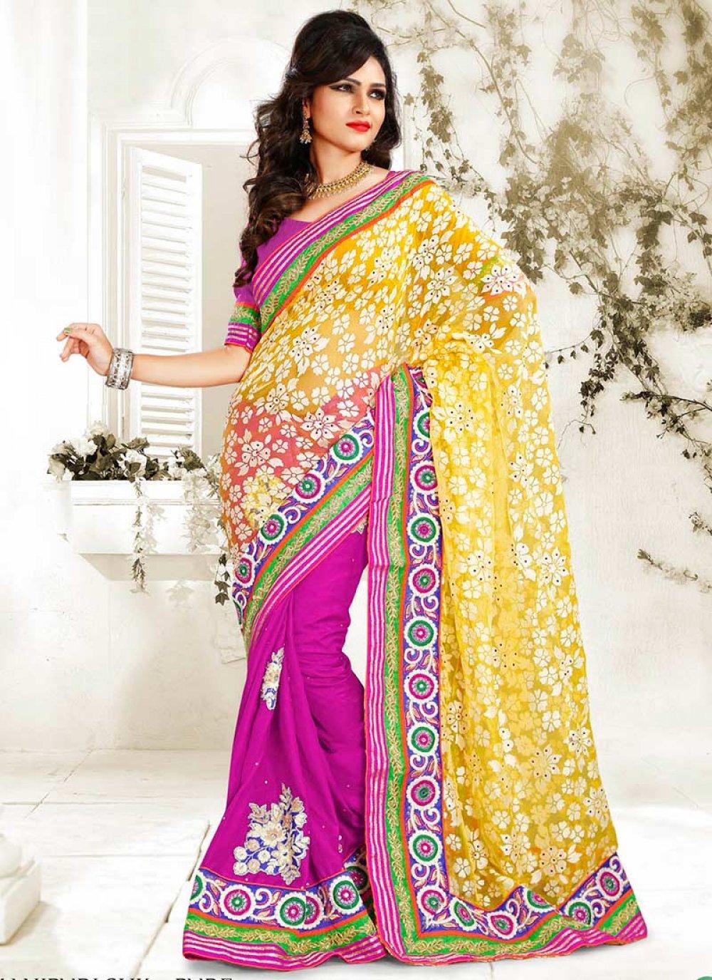 Yellow And Magenta Manipuri Silk Half And Half Saree
