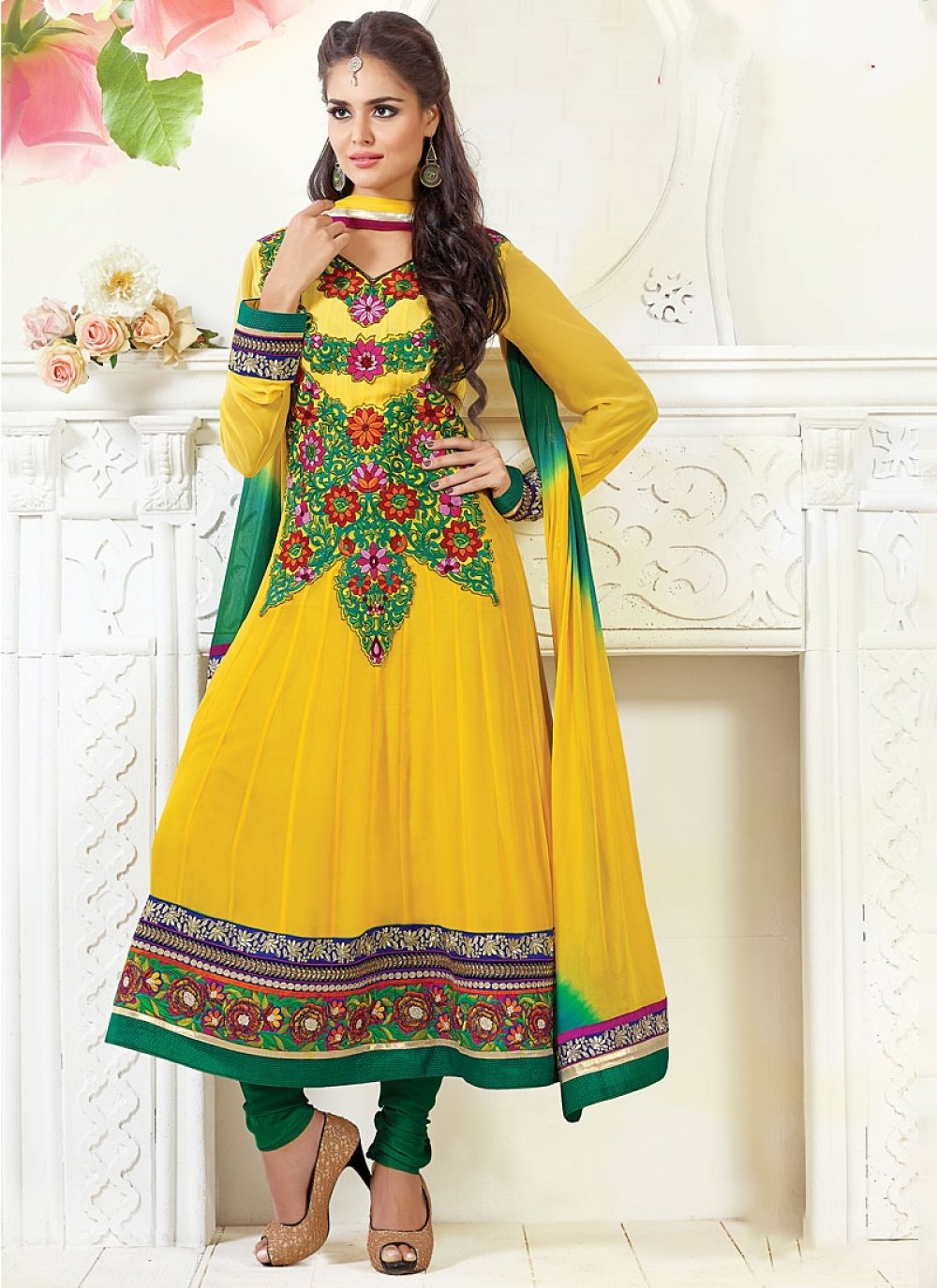 Yellow And Mustard Shaded Viscose Anarkali Suit