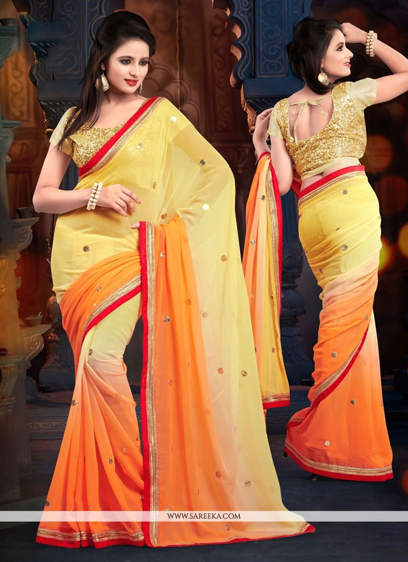 Yellow And Orange Chiffon Casual Saree