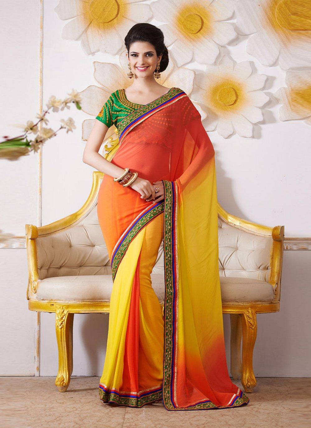 Yellow And Orange Embroidery Work Bamber Saree