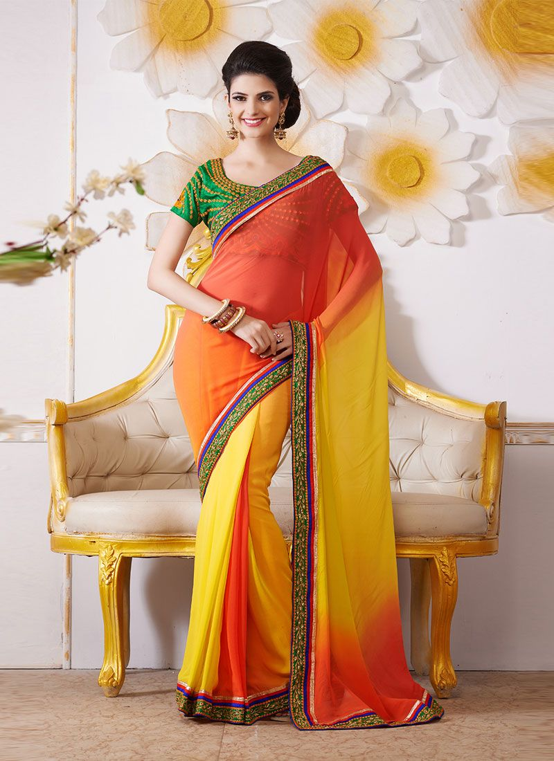 Yellow And Orange Embroidery Work Bamber Saree