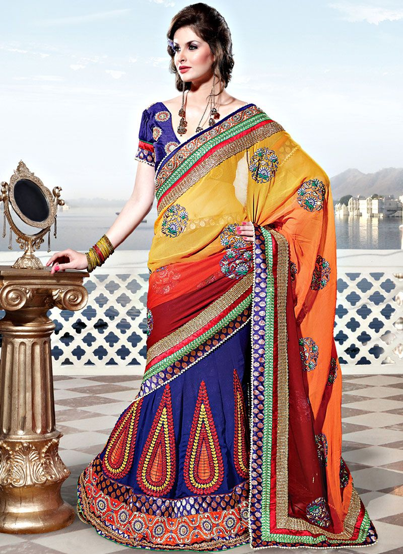 Yellow and Orange Georgette Lehenga Style Saree