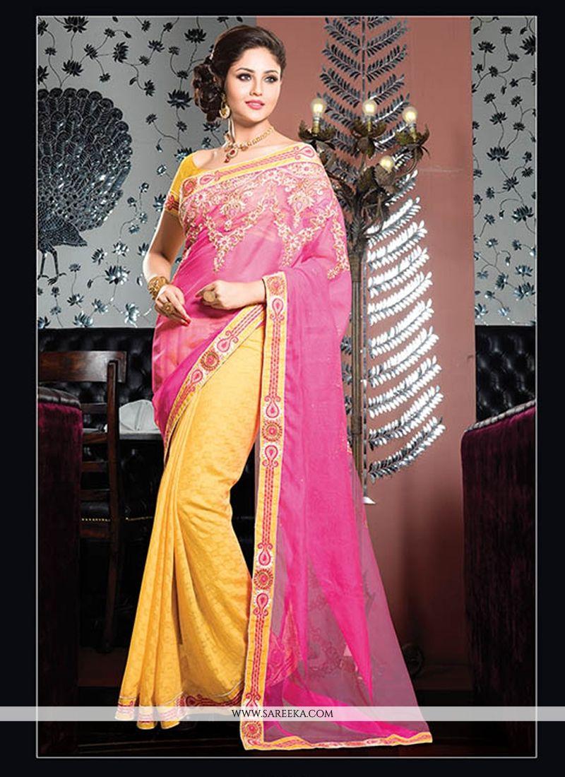 Yellow And Pink Cotton Designer Saree