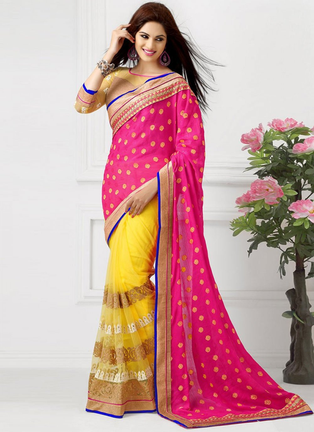 Yellow And Pink Net Half And Half Saree
