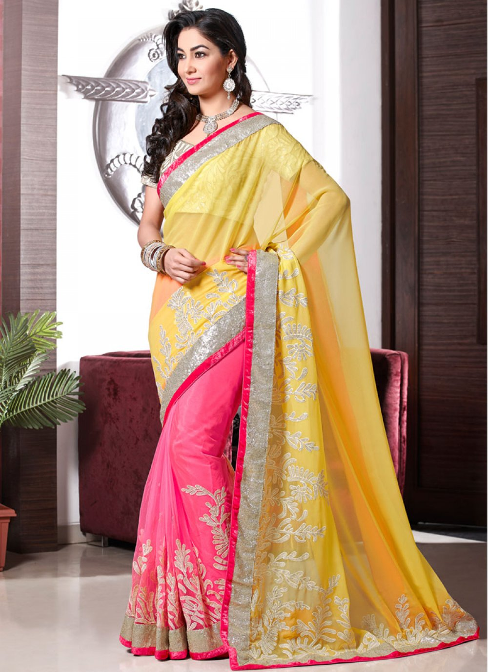 Yellow And Pink Stone Work Party Wear Saree