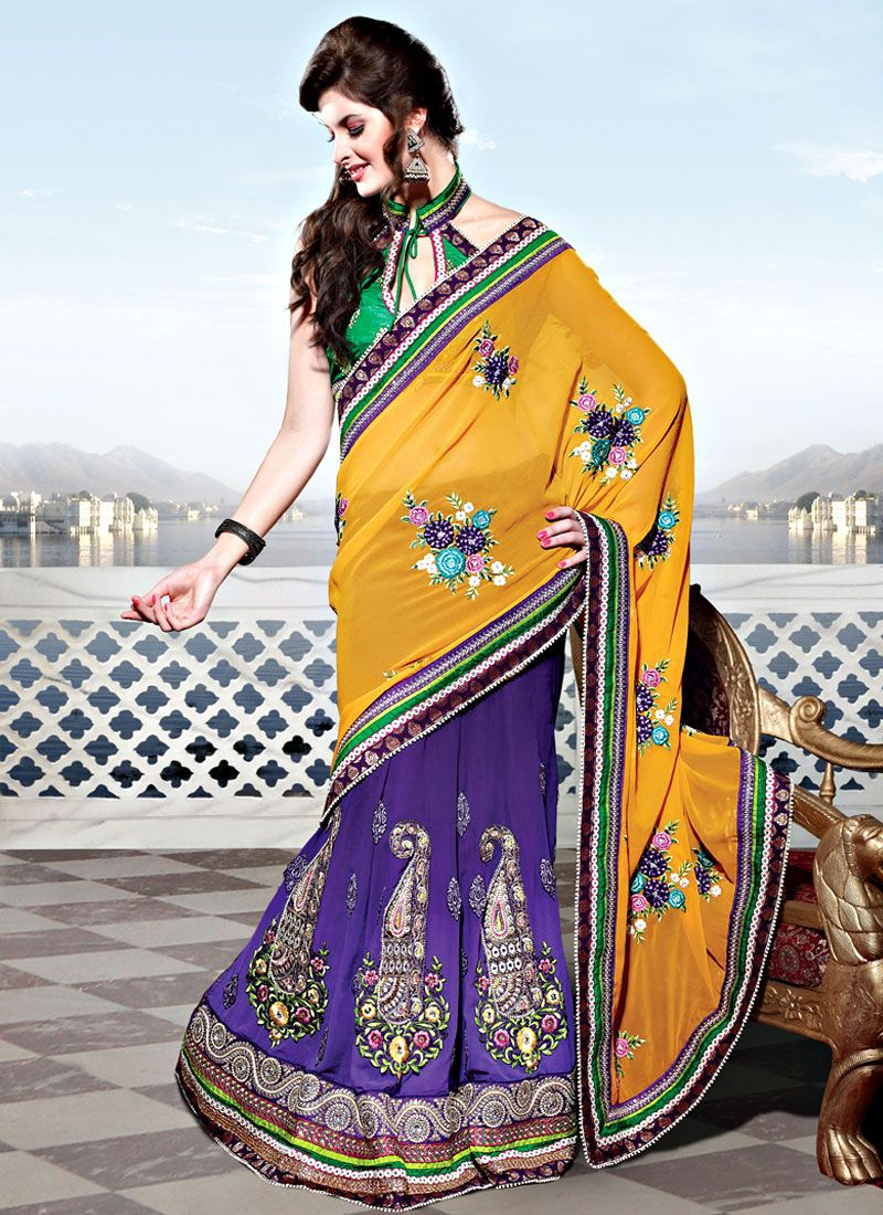 Yellow and Purple Georgette Lehenga Style Saree