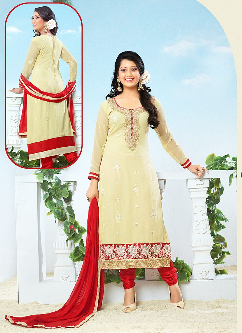 Yellow And Red Resham Work Churidar Salwar Kameez