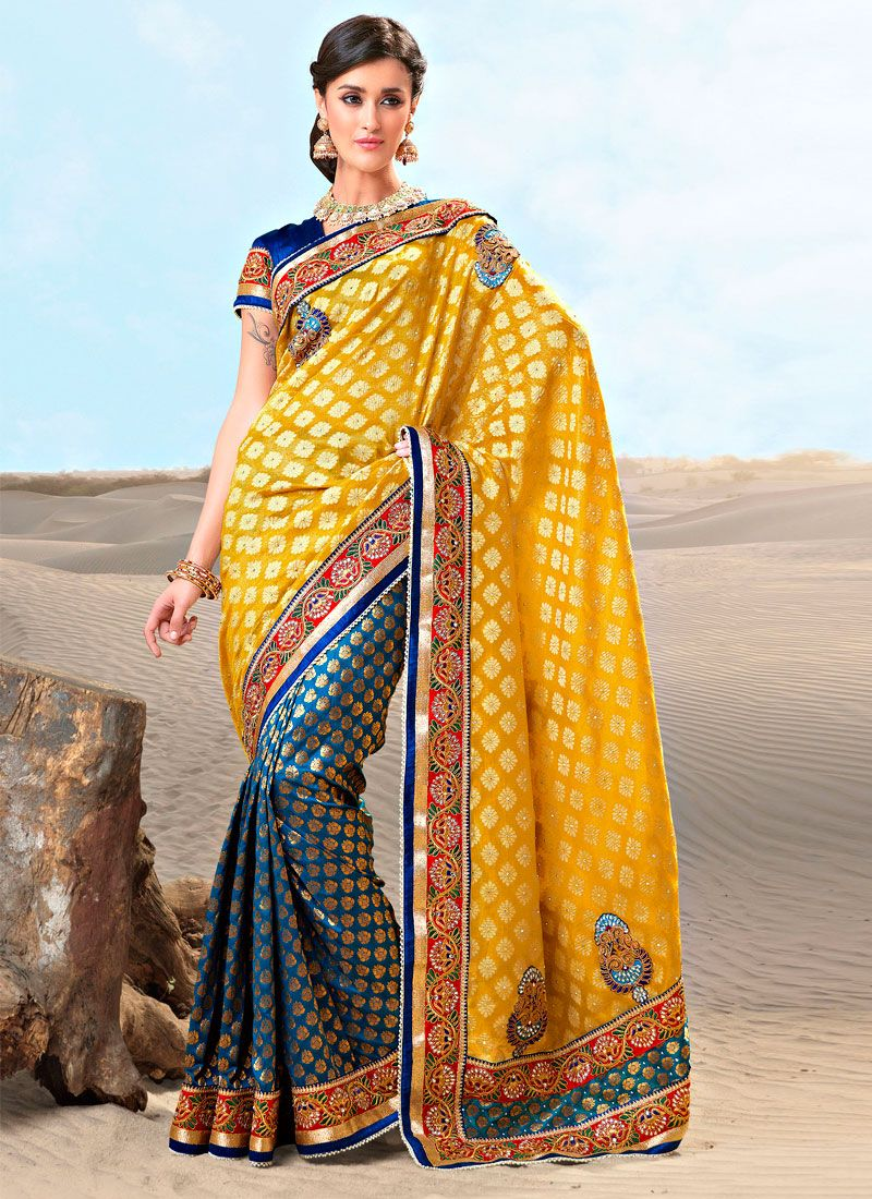 Yellow And Teal Blue Brocade Embroidered Saree