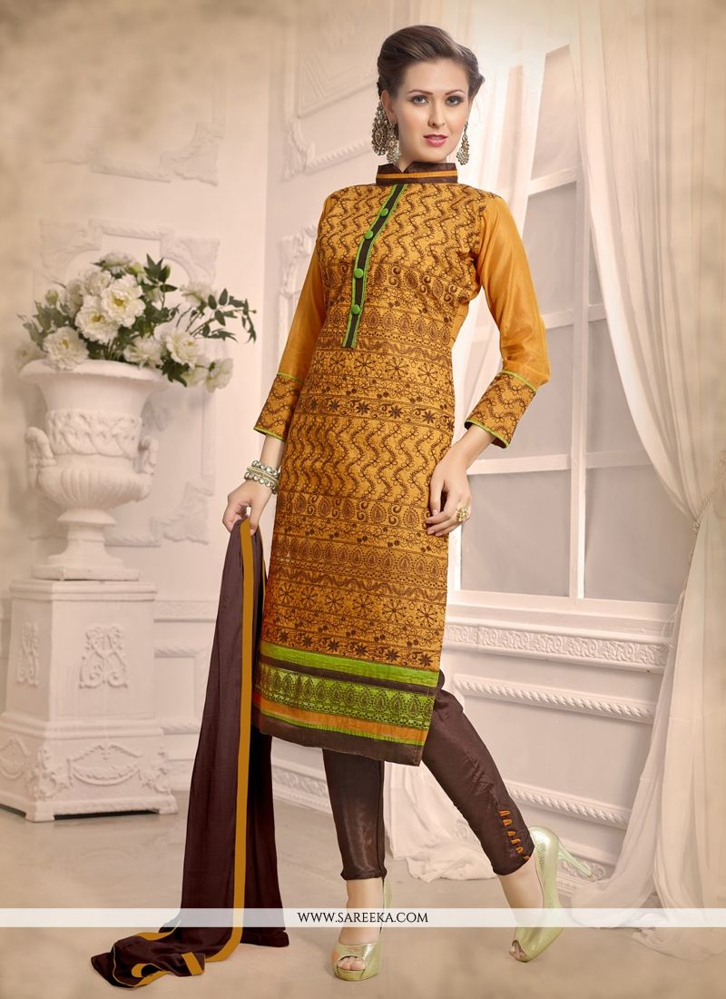 Yellow Chanderi Churidar Designer Suit
