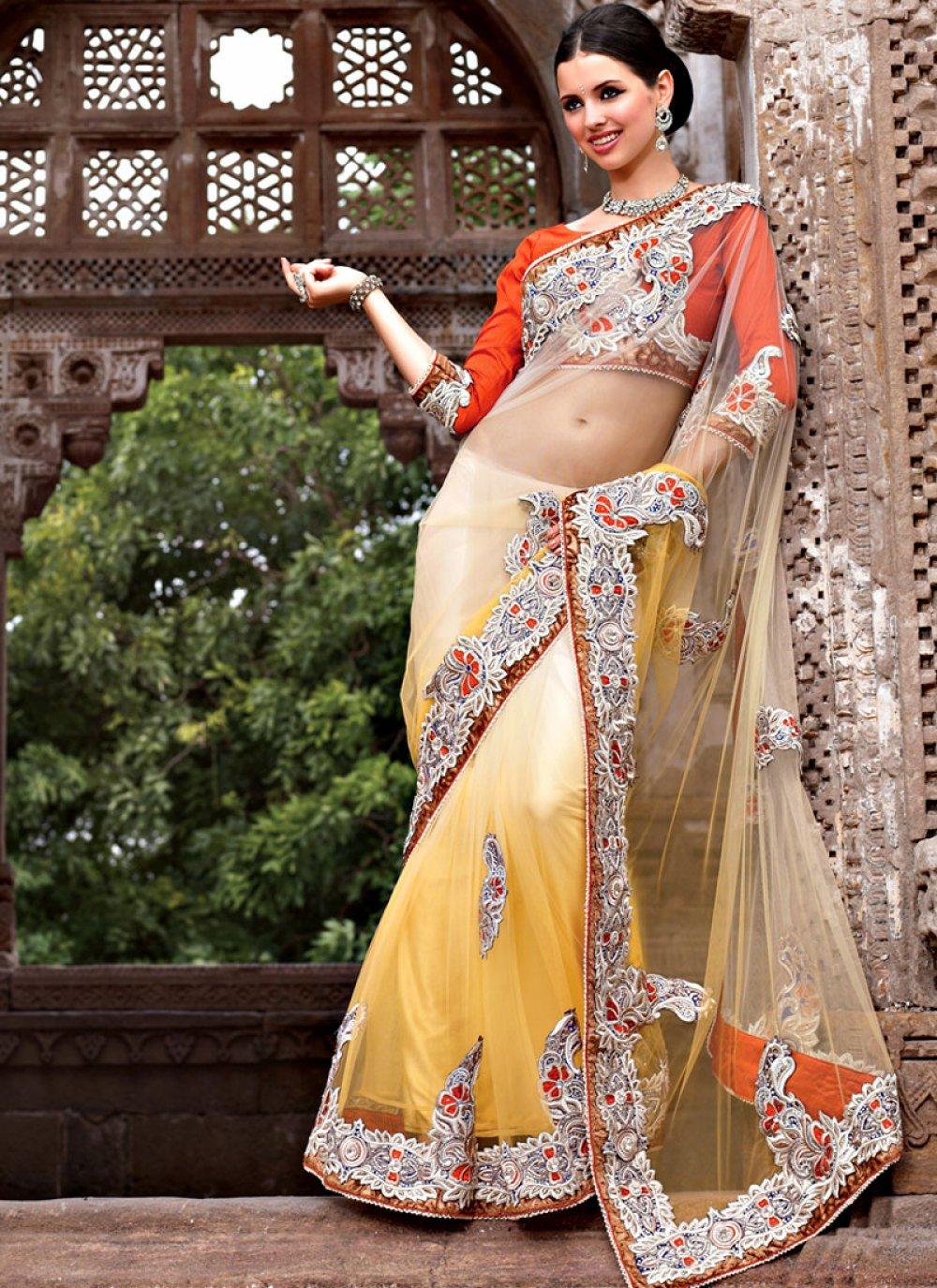 Yellow & Cream Net Saree