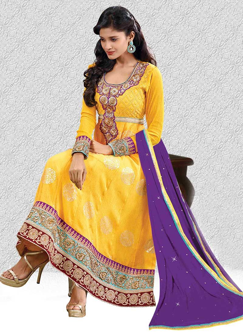 Yellow Embroidery Work Faux Georgette Anarkali Suit