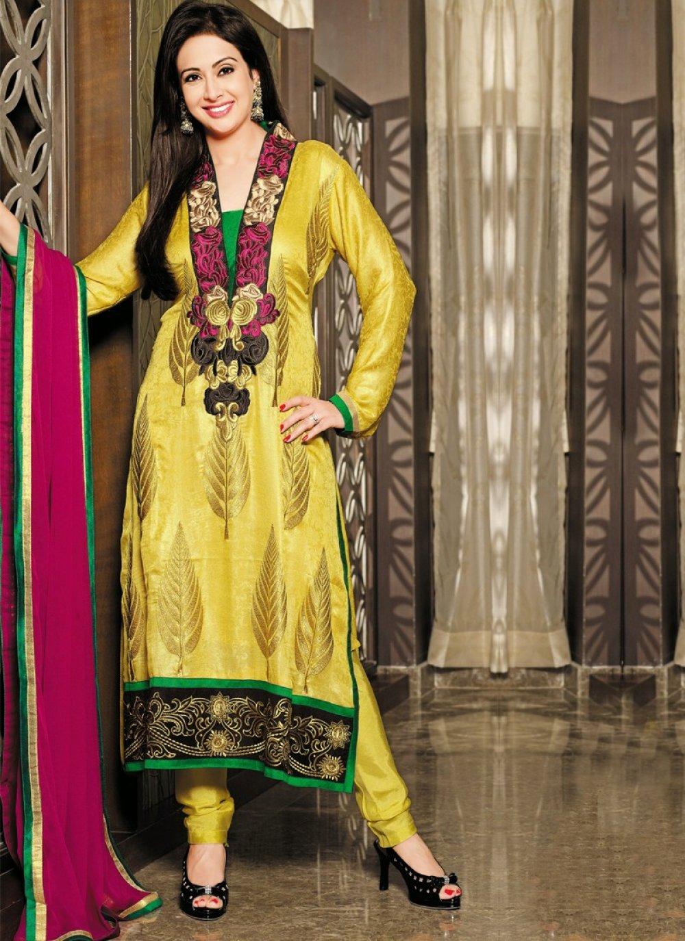 Yellow Embroidery Work Silk Churidar Suit