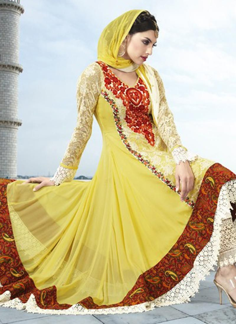 Yellow Faux Georgette And Net Pakistani Suit