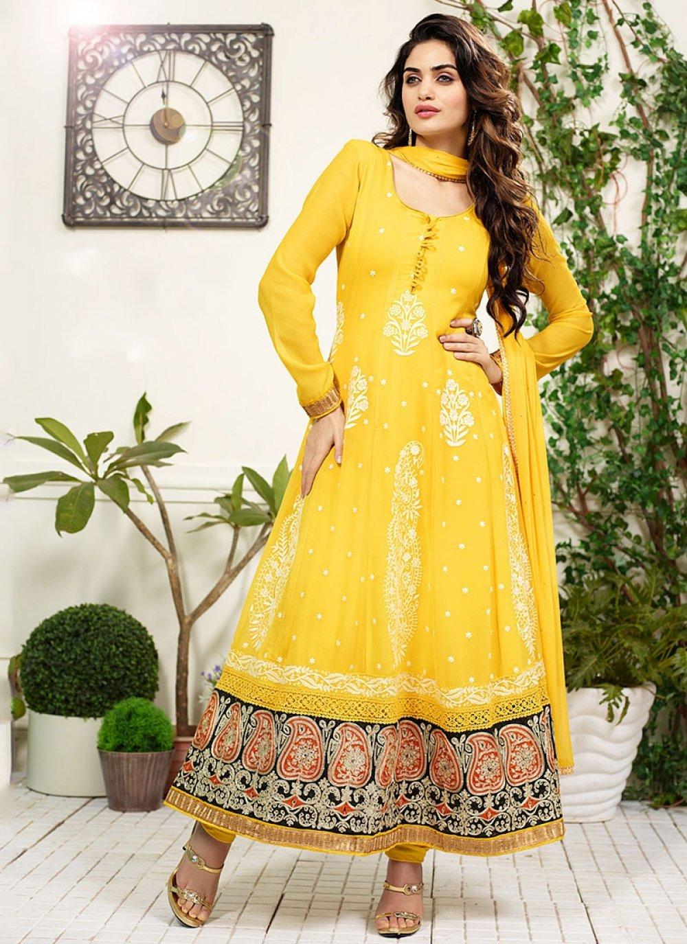 Yellow Georgette Anarkali Salwar Suit