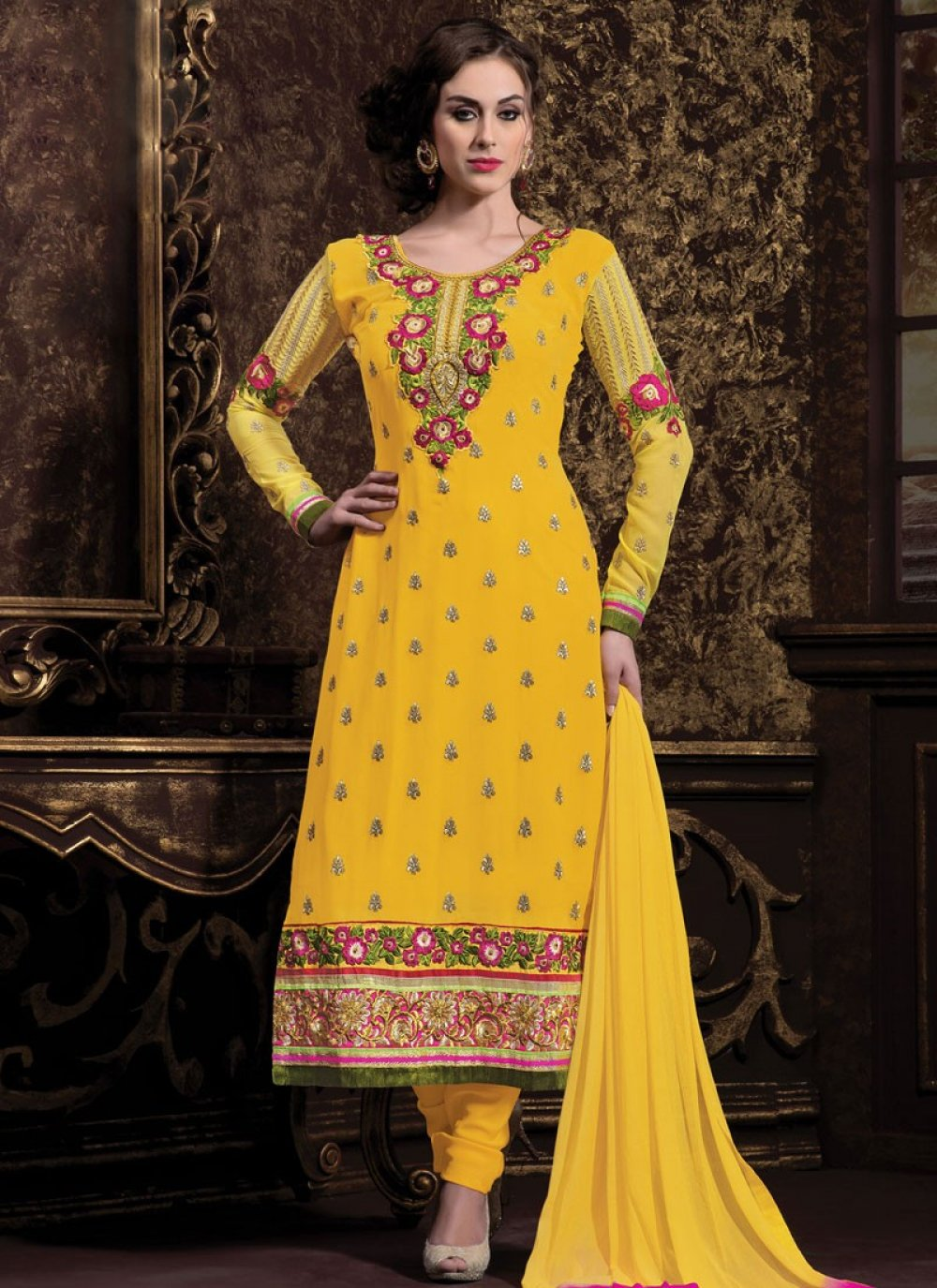 Yellow Georgette Churidar Salwar Kameez