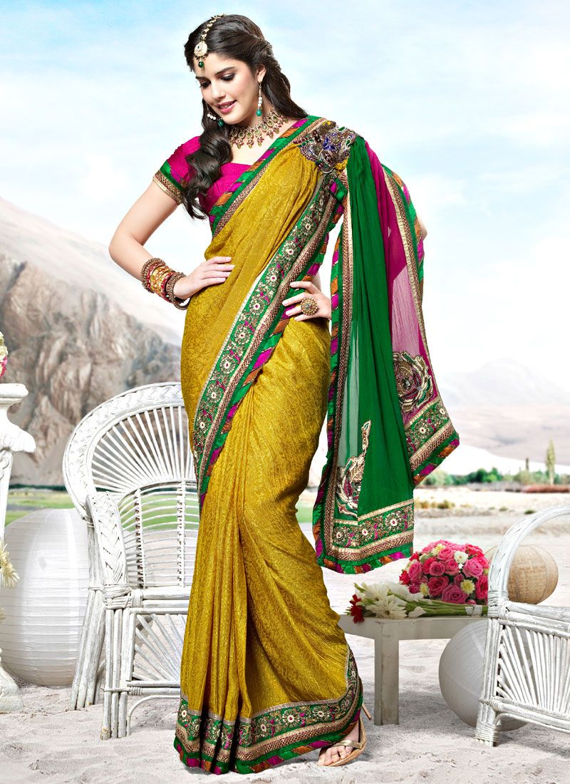Yellow Jacquard and Faux Georgette Saree
