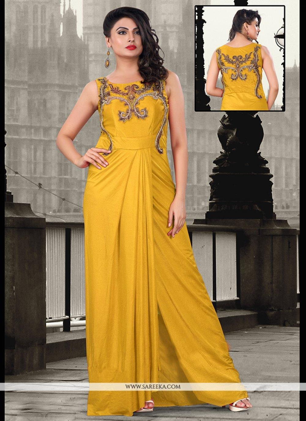 Yellow Lycra Sequins Work Floor Length Gown