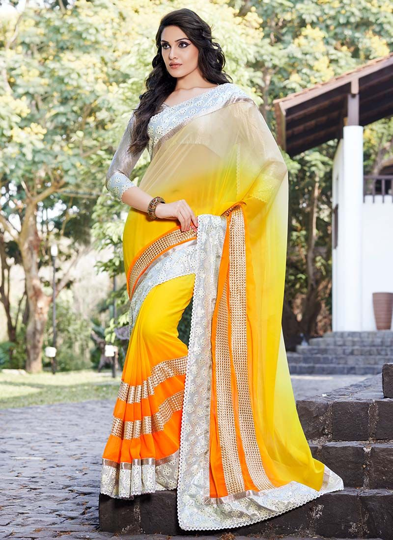 Yellow Patch Border Work Georgette Saree