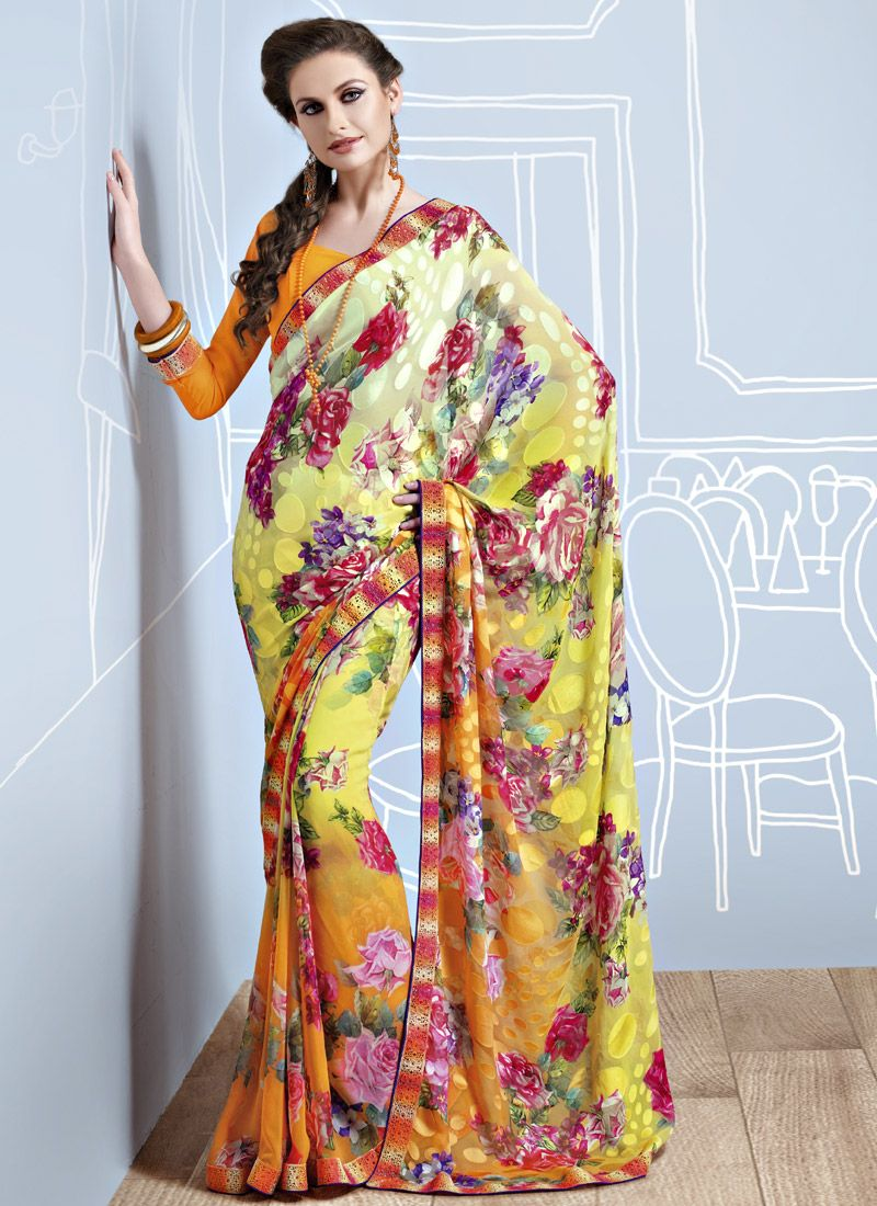 Yellow Printed Brasso Saree