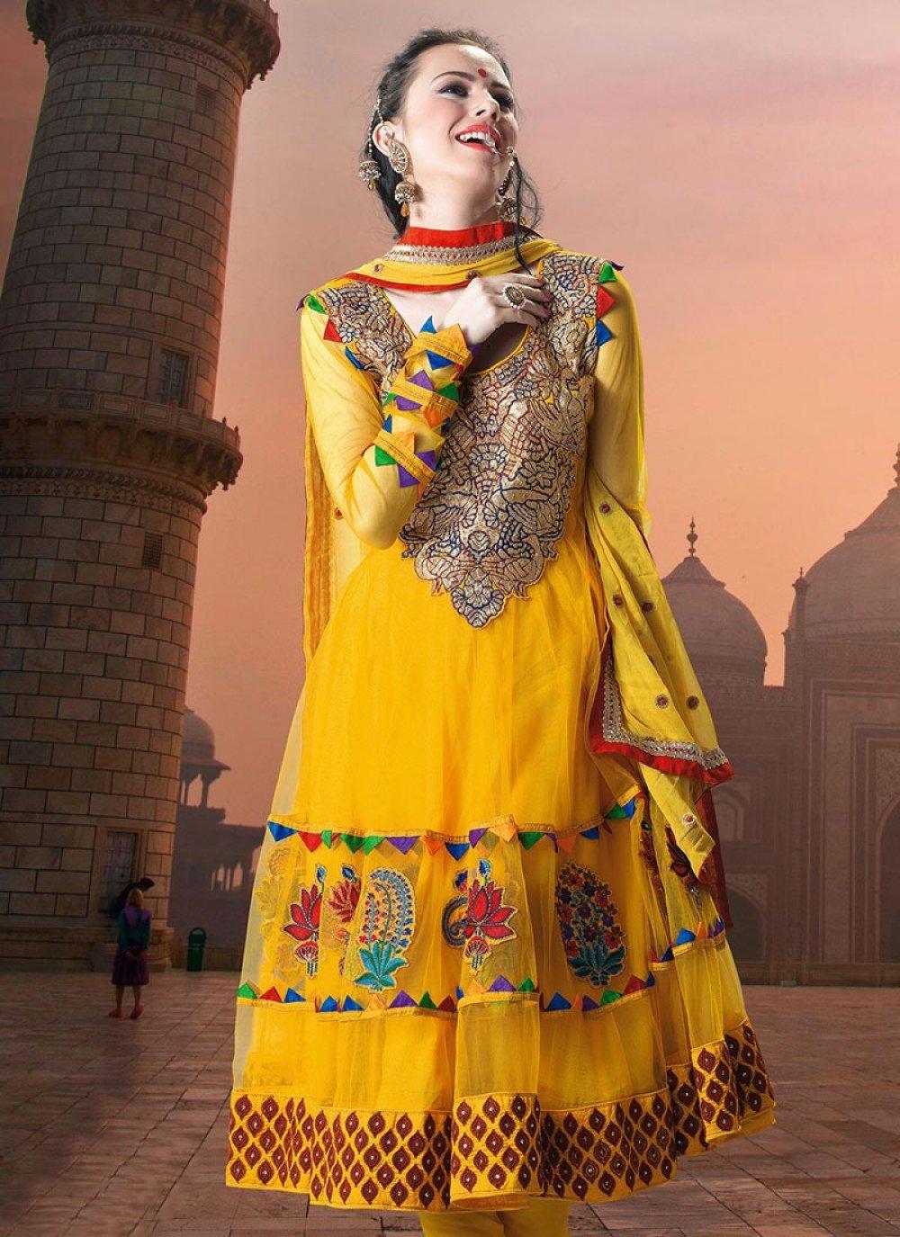 Yellow Resham Embroidered Net Churidar Suit