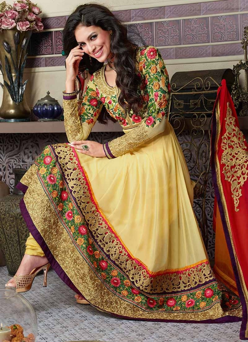 Yellow Resham Enhanced Ankle Length Anarkali Suit