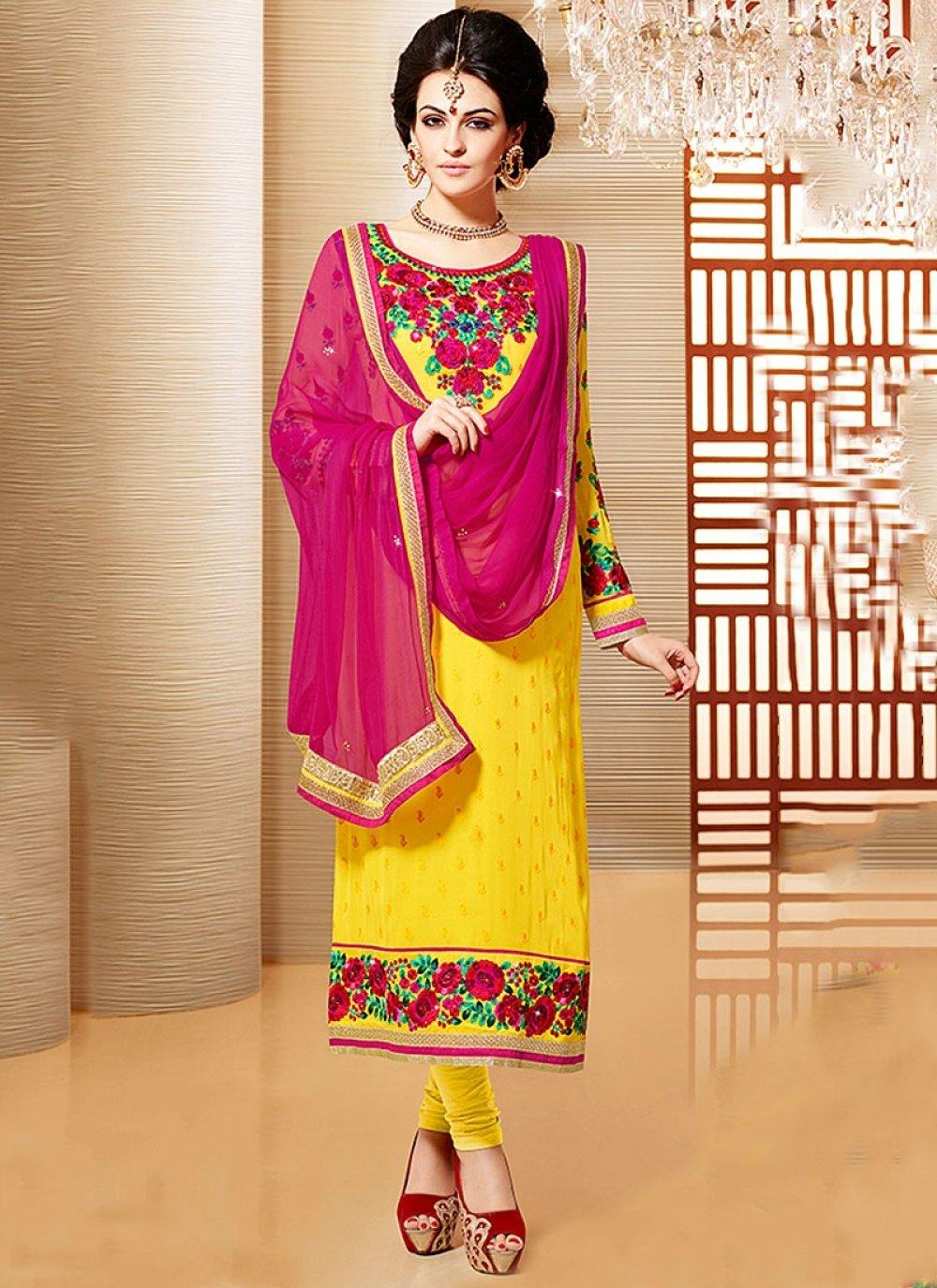 Yellow Resham Work Faux Georgette Churidar Suit