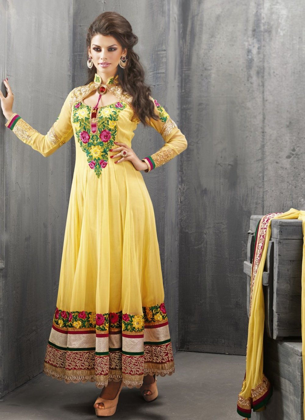 Yellow Resham Work Net Anarkali Suit