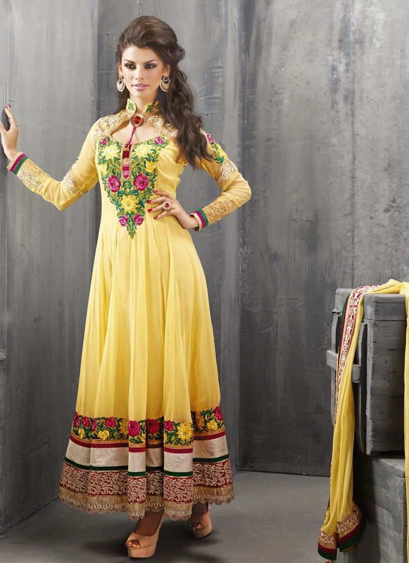 Yellow Resham Work Net Anarkali Suit