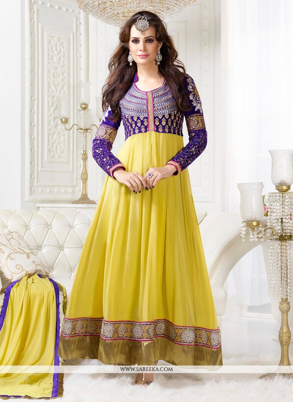 Yellow Royal Georgette Anarkali Suit