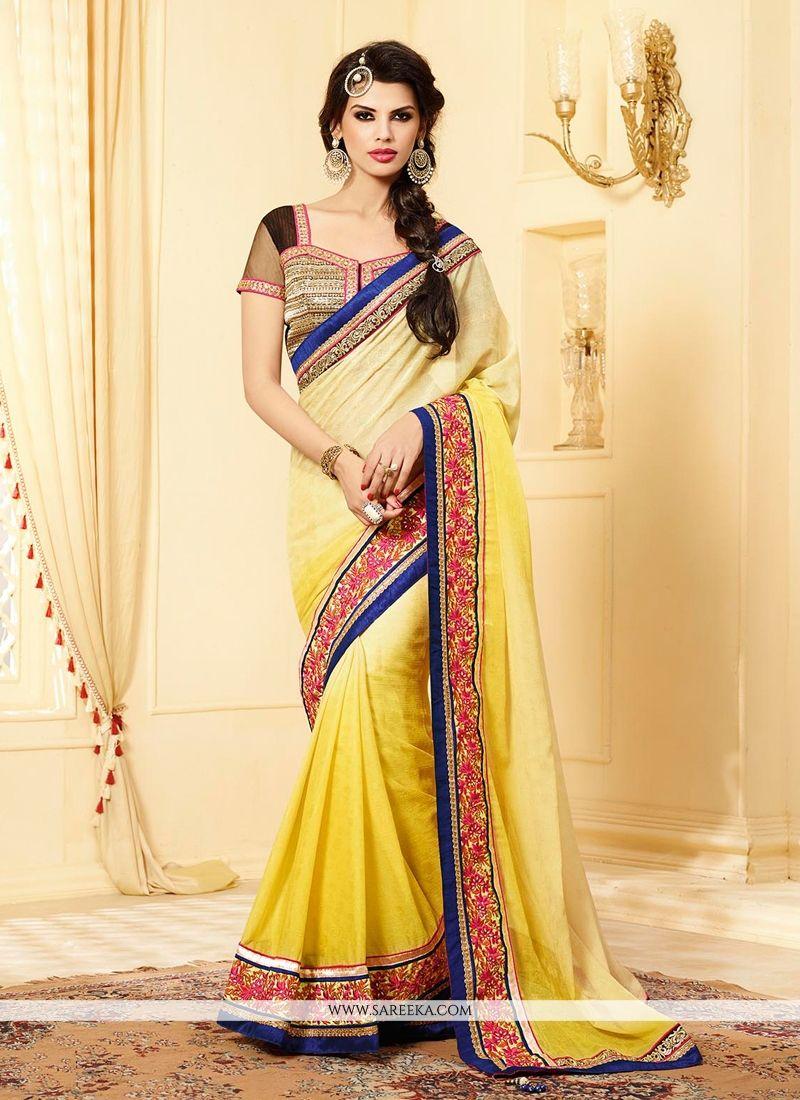 Yellow Shaded Jacquard Designer Saree