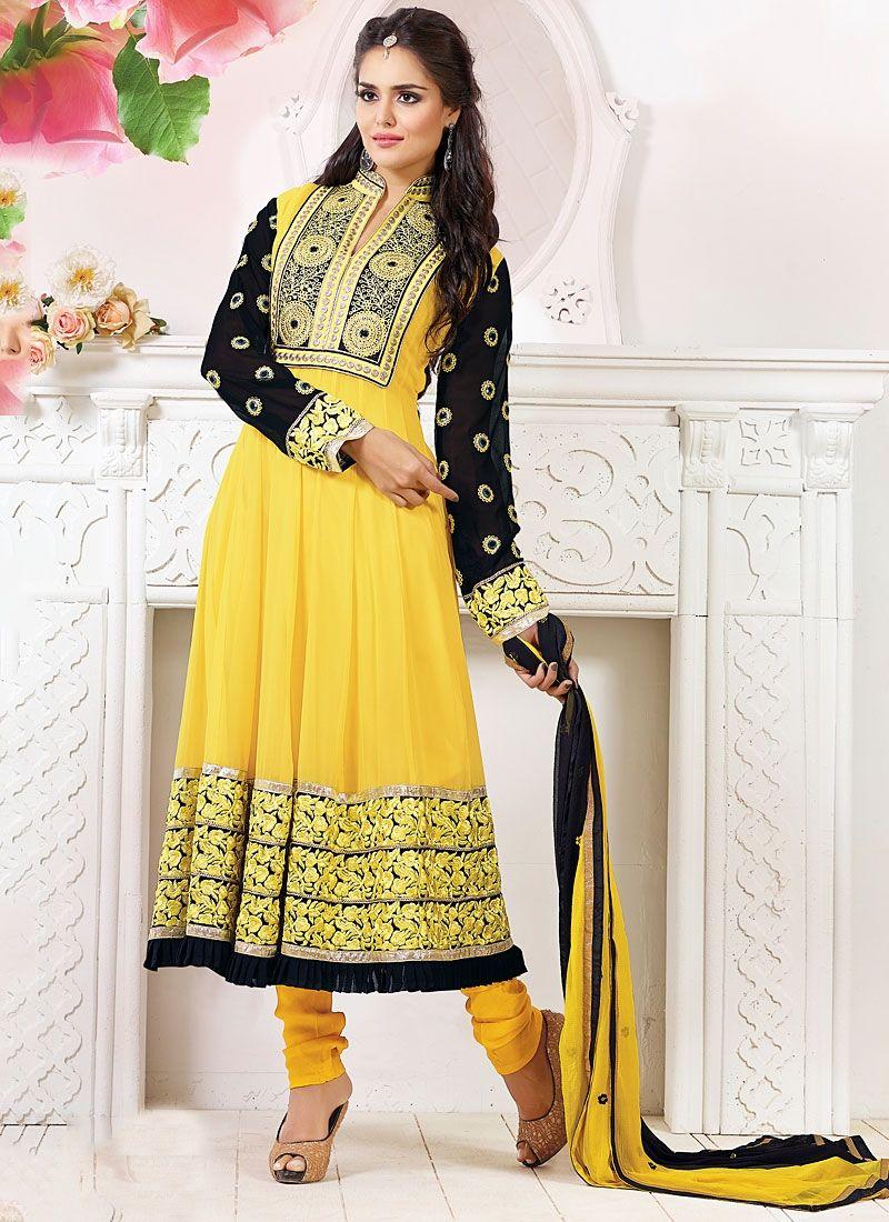 Yellow Viscose Anarkali Salwar Kameez
