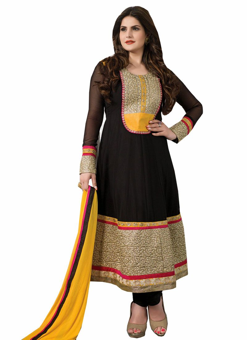Zareen Khan Black Resham Work Georgette Anarkali Suit
