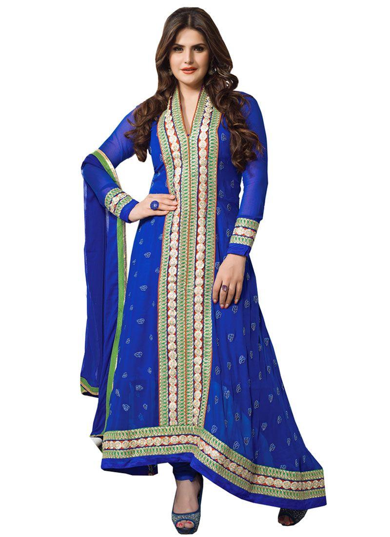 Zareen Khan Blue Resham Work Anarkali Suit
